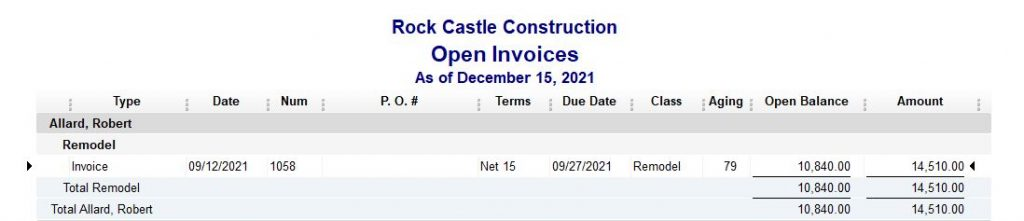 Rock Castle Construction Open Invoices - August 2017 Report of the Month - Accurabooks