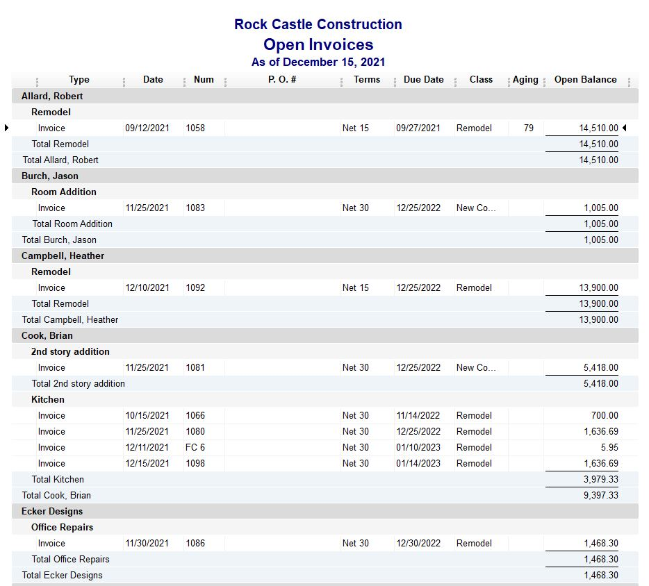 Rock Castle Construction Open Invoices - Accurabooks